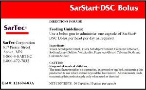SarStart DSC Bolus Label