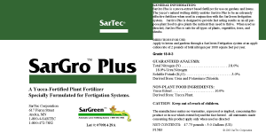 SarGro Plus Label